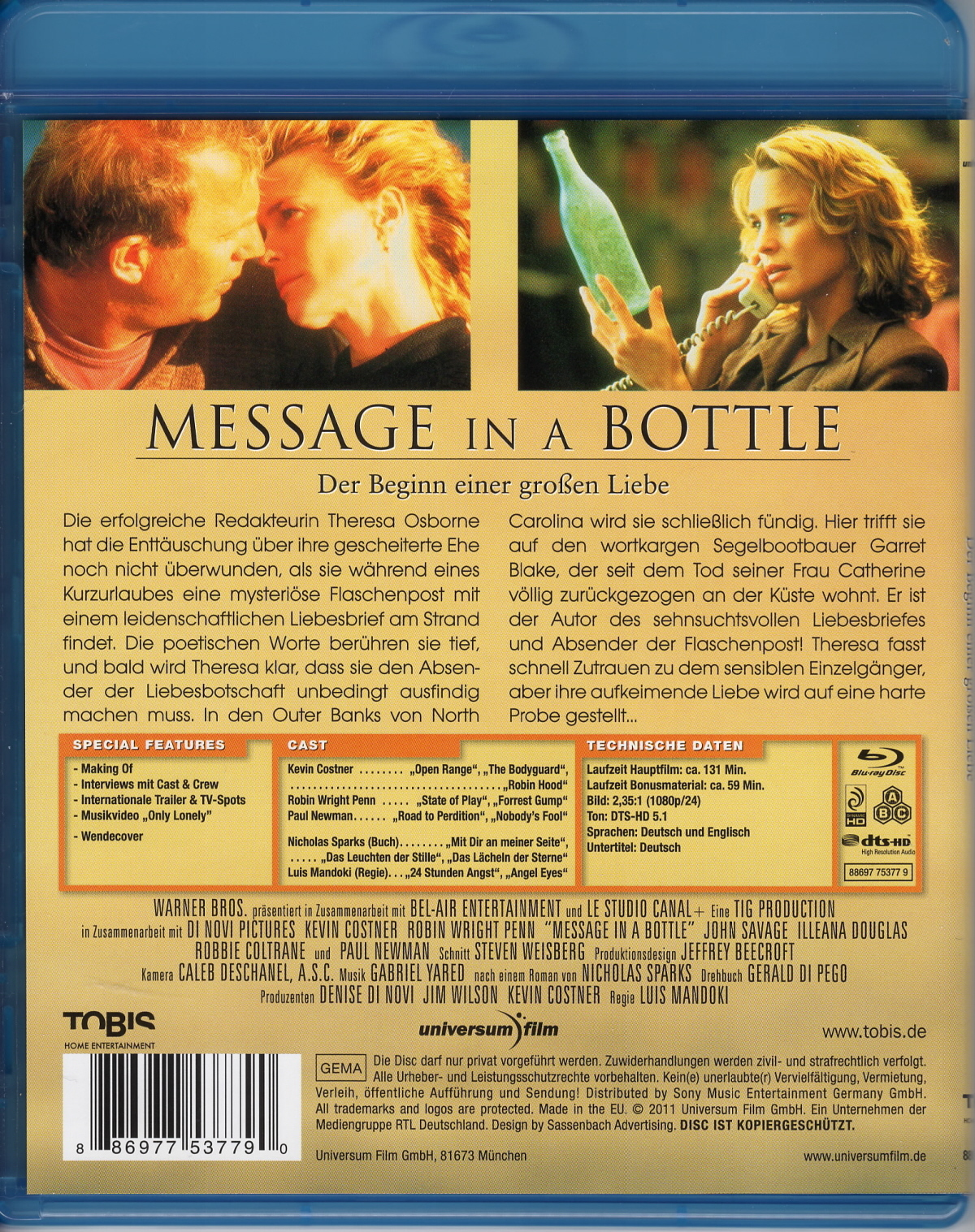 Message In A Bottle Blu Ray Germany
